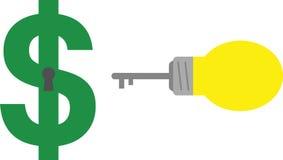 Clé et trou de la serrure d'ampoule avec le dollar Photos stock