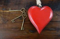 Clé heureuse de jour de valentines à mon concept de coeur Photo stock