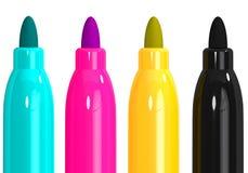 Clé jaune magenta cyan de marqueurs de CMYK 4 illustration de vecteur