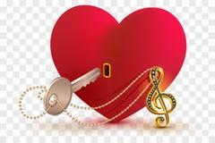 Clé musicale de clef triple pour ouvrir la forme de serrure de coeur d'amour illustration stock