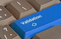 Clé pour la validation Images stock