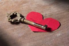 Clé pour le coeur, amour, esprit Image libre de droits