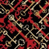 Clé squelettique Pattern_Gold-Black-Red Illustration de Vecteur