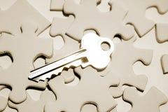 Clé sur le puzzle Images libres de droits