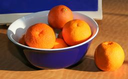 Clémentines oranges fraîches dans une cuvette bleue Image stock