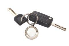 Clés à télécommande de voiture avec le porte-clés en métal Images stock