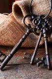 Clés antiques en métal Images libres de droits