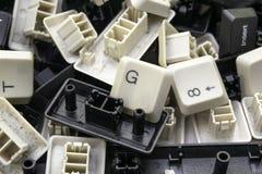 Clés assorties aléatoires de vieux claviers d'ordinateur photo libre de droits