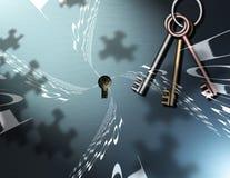 Clés binaires de puzzle Images stock