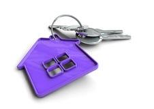 Clés de Chambre avec le porte-clés d'icône de maison Concept pour la propriété Photo libre de droits