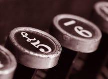 Clés de machine à écrire de cru Photo libre de droits