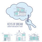 Clés de maison rêveuse en nuage Ligne plate illustration de vecteur illustration libre de droits