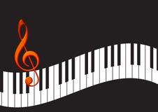 Clés de piano avec la note Photo stock