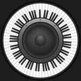 Clés de piano de cercle avec le haut-parleur Photographie stock