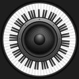 Clés de piano de cercle avec le haut-parleur Photos stock