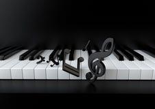 Clés de piano et notes de musique Photographie stock libre de droits