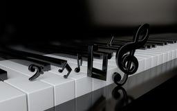 Clés de piano et notes de musique Image libre de droits