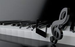 Clés de piano et notes de musique Images stock