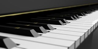 Clés de piano sur le piano noir illustration 3D Photo stock
