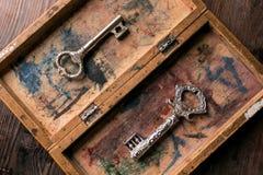 Clés de vintage dans une vieille boîte avec une peinture minable Photos libres de droits