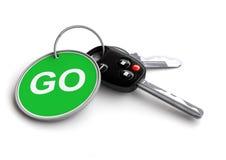 Clés de voiture avec le porte-clés : ALLEZ ! Images stock