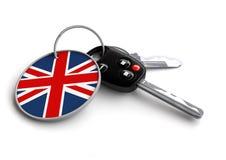 Clés de voiture avec le porte-clés : Drapeau britannique, véhicules faits britanniques Image libre de droits