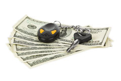 Clés et argent de véhicule Image libre de droits