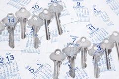 Clés et pages de calendrier Image stock