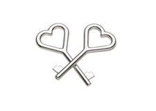 Clés minuscules avec une poignée en forme de coeur, Photo stock