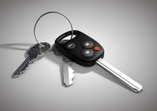 Clés modernes de voiture pour le véhicule passager d'isolement sur le sur blanc plat Images libres de droits