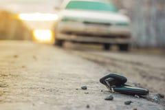 Clés perdues de voiture sur les aiguilles tombées du sapin bleu bokeh arrière de fond de tache floue images libres de droits