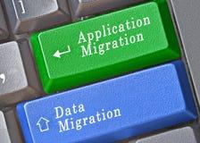 Clés pour la migration de données et d'application image stock