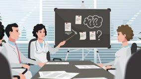 Clínica/doctores de la historieta en la reunión almacen de metraje de vídeo