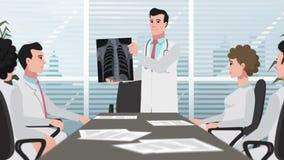 A clínica/doutor dos desenhos animados mostra o raio X de caixa filme