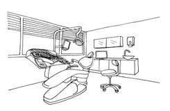 Clínica gráfica do escritório do dentista do esboço ilustração do vetor
