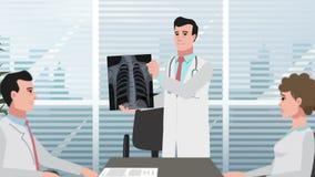 A clínica/homem dos desenhos animados mostra o raio X de caixa filme