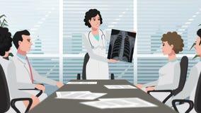 A clínica/mulher dos desenhos animados mostra o raio X de caixa video estoque