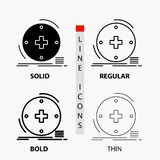 Clínico, digital, saúde, cuidados médicos, ícone da telemedicina na linha e no estilo finos, regulares, corajosos do Glyph Ilustr ilustração stock