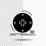 Clínico, digital, saúde, cuidados médicos, ícone do Glyph da telemedicina no fundo transparente ?cone preto ilustração do vetor