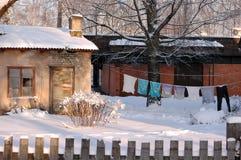 Clôture s'arrêter pour sec à l'hiver Image libre de droits