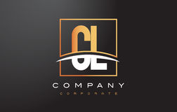 CL C L Golden Letter Logo Design with Gold Square and Swoosh. royalty free illustration