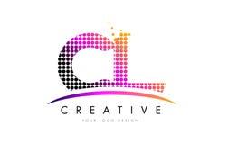 CL C L letra Logo Design con los puntos magentas y Swoosh Imagen de archivo libre de regalías