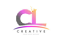 CL C L Letter Logo Design with Magenta Dots and Swoosh Royalty Free Stock Image