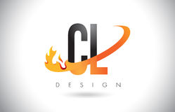 CL C L Letter Logo with Fire Flames Design and Orange Swoosh. Royalty Free Stock Images
