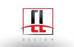 CL C L Logo Letters con colores rojos y negros y Swoosh Fotografía de archivo