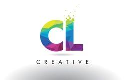 CL C L vettore variopinto di progettazione dei triangoli di origami della lettera illustrazione di stock
