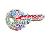 clé d'étiquette de wordcloud de la protection de l'ordinateur 3d Images libres de droits