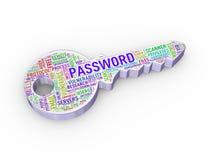 clé d'étiquette de wordcloud du mot de passe 3d Photo libre de droits