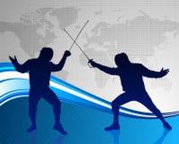 Clôture du sport sur le fond abstrait de carte du monde Images libres de droits