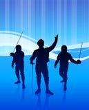 Clôture du sport sur le fond bleu abstrait Photo libre de droits